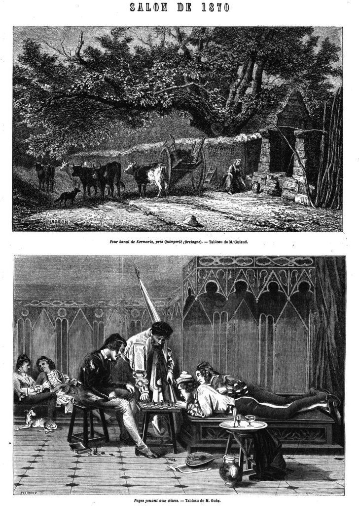 Four banal de Kermaria, près Quimperlé, tableau de M. Cuiaud. Illustration, gravure 1870 —Pages jouant aux échecs, tableau de M. Guès. Illustration, gravure 1870