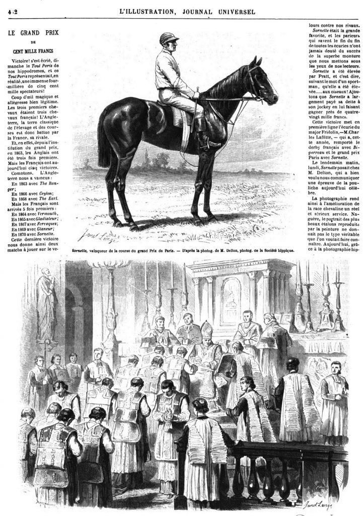 Sornette, vainqueur du grand prix de Paris. Dessins 1870 - PARlS. — Une ordination à l'église Saint-Sulpice.