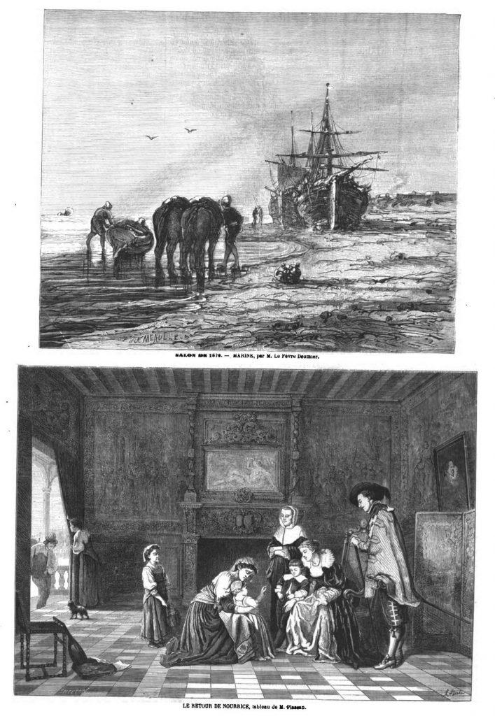 Marine, par M. Le Fèvre Deumier; Dessins 1870 — Le retour de nourrice, tableau dj M. Plassan; Dessins 1870