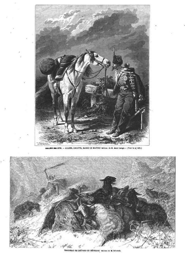 Allons, cocotte, baisez ce maître! tableau de M. Janet Lange; Dessins 1870 — Troupeau de chèvres en détresse, tableau de M. Schenck. Dessins 1870