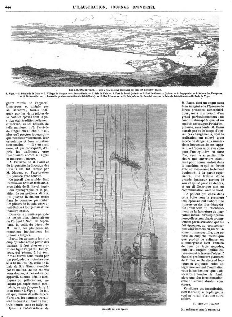Descente sur une épave. scaphandriers. Dessins 1870