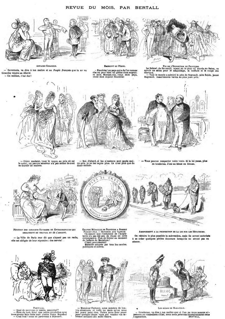 Revue du mois, par Bertall (12 gravures). Dessins 1870