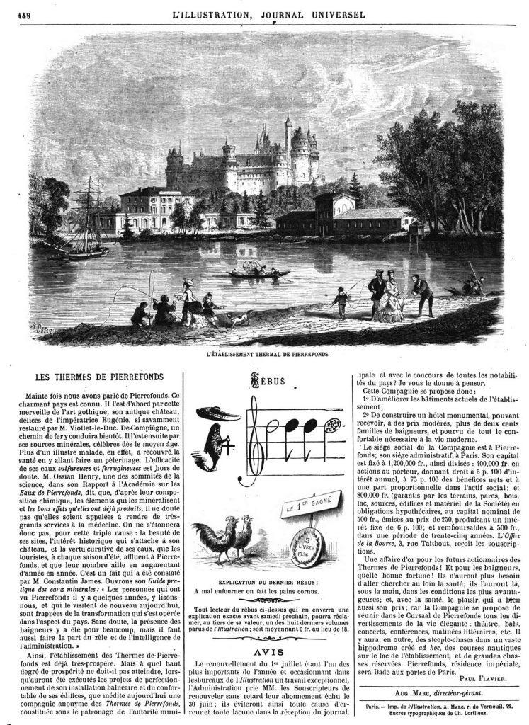 L'établissement thermal de Pierrefonds. Dessins 1870