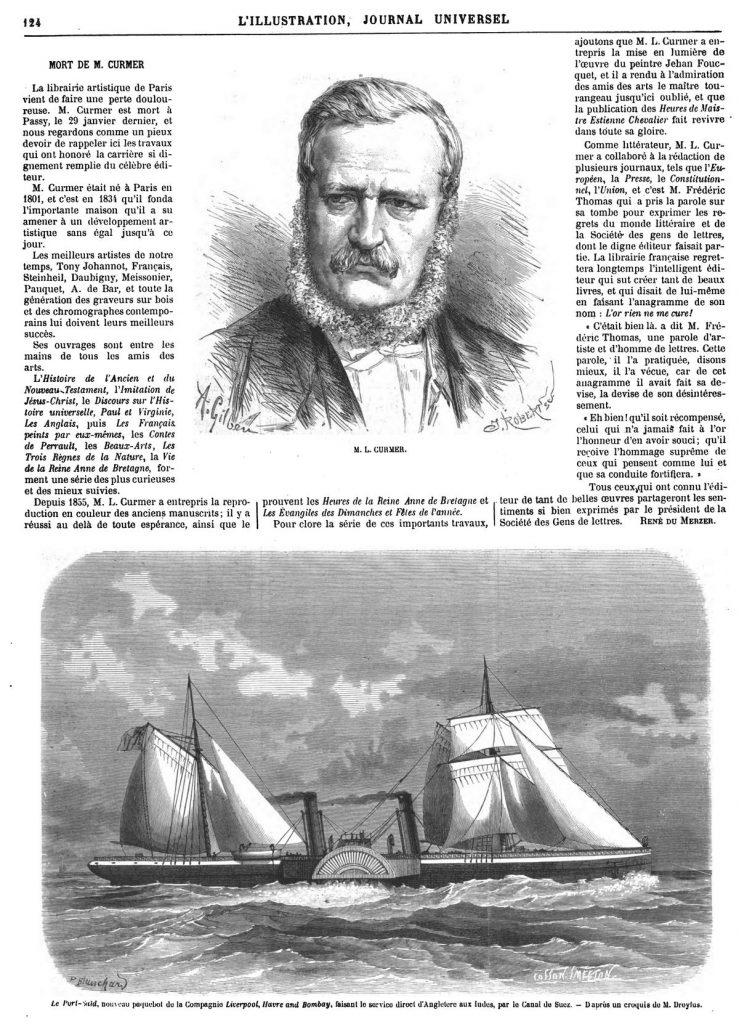 M. Gurmer- Le Port-Saïd, nouveau paquebot de la Compagnie Liverpool, Havre and Bombay, faisant le service direct d'Angleterre aux Indes, par le Canarde Suez. 1870