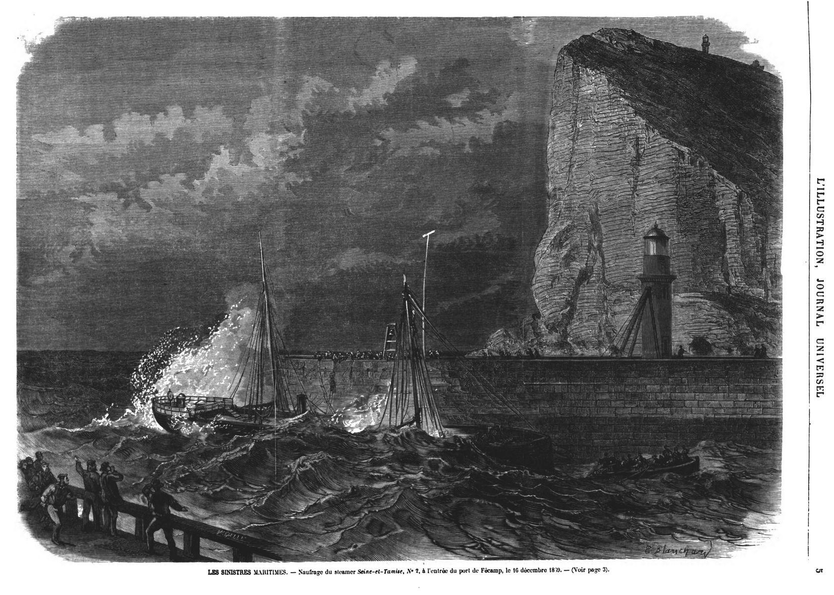 Naufrage du steamer Seine-et-Tamise,N° 2, à l'entrée du port de Fécamp, 16 décembre 1869.