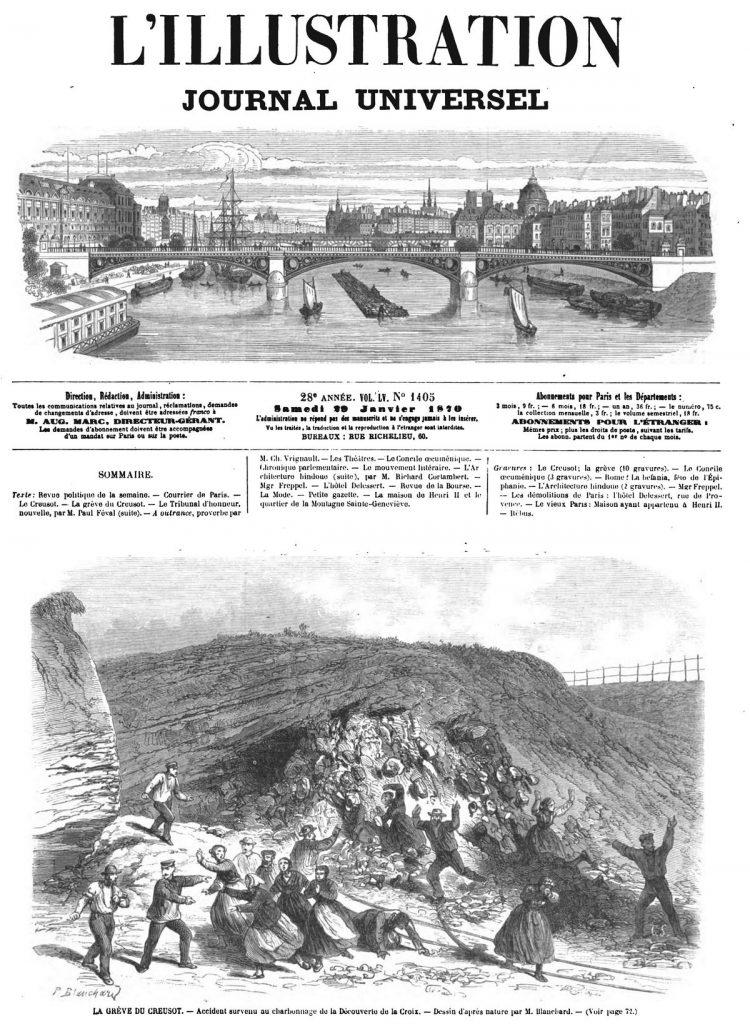 LA GRÈVE DU CREUSOT. — Accident survenu au charbonnage de la Découverte de la Croix. 1870