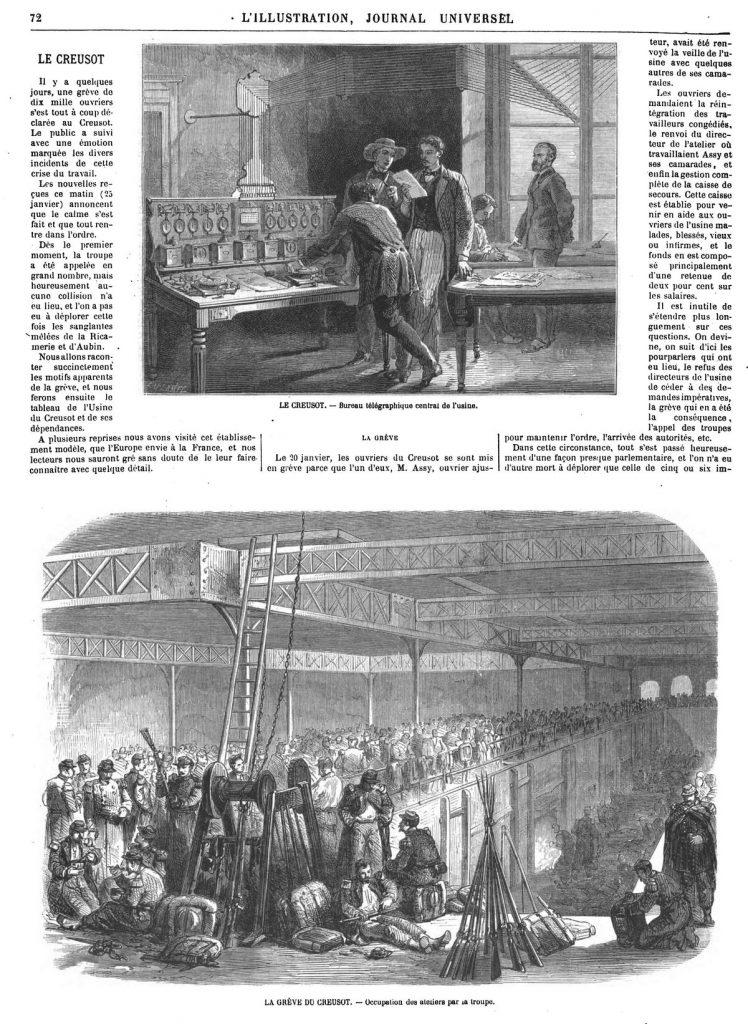 LE CREUSOT. — Bureau télégraphique central de l'usine.- LA GRÈVE DU CREUSOT. — Occupation des ateliers par la troupe. 1870