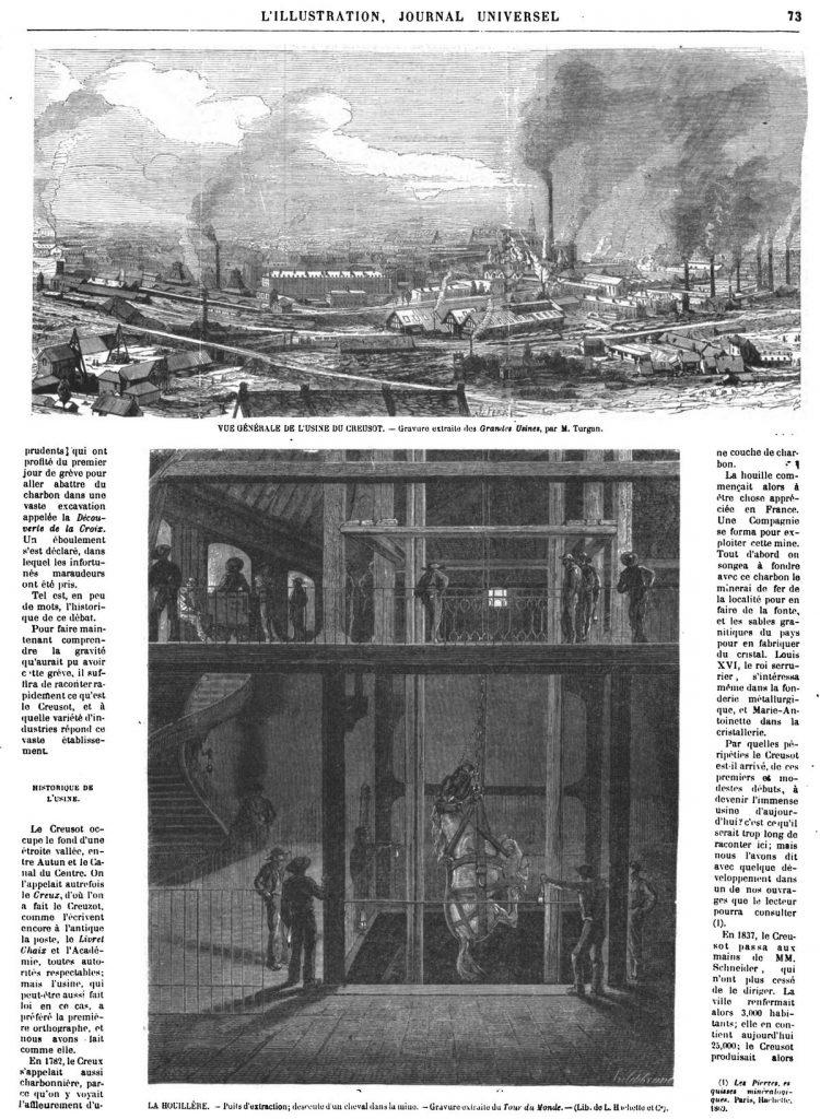 VUE GÉNÉRALE DE L'USINE DU CREUSOT. — Gravure extraite des Grandes Usines, 1870 - LA HOUILLÈRE. - Puits d'extraction; descente d'un cheval dans la mine.