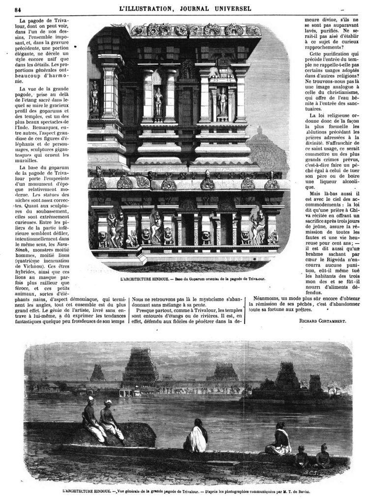 LARCHITECTURE HIND0UE. --Vue générale de la grande pagode de Trivalour. - L'ARCHITECTURE HINDOUE. — Base du Goparum oriental de la pagode de Trivaour.