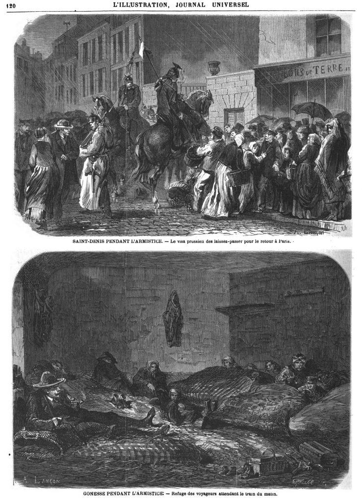 Saint-Denis pendant l'armistice : le visa prussien des laissez-passer pour le retour à Paris. — Gonesse pendant l'armistice: refuge des voyageurs attendant le train du matin.