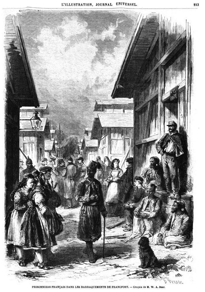 Prisonniers Français dans les baraquements de Francfort