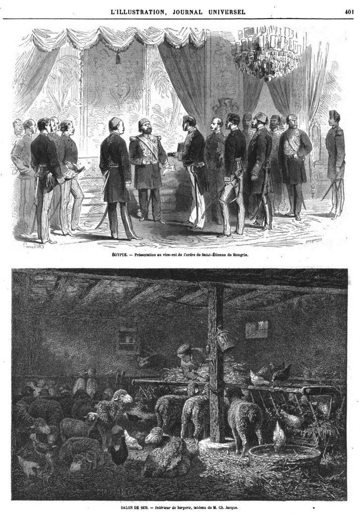 Égypte : présentation au vice-roi de l'ordre de St-Étienne de Hongrie. Gravure 1870 — Salon de 1870: Intérieur de bergerie, tableau de M. Jacque; Gravure 1870