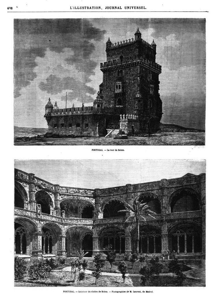 Portugal : la tour de Belem ; Gravure 1870 — Intérieur du cloître de Belem. Gravure 1870