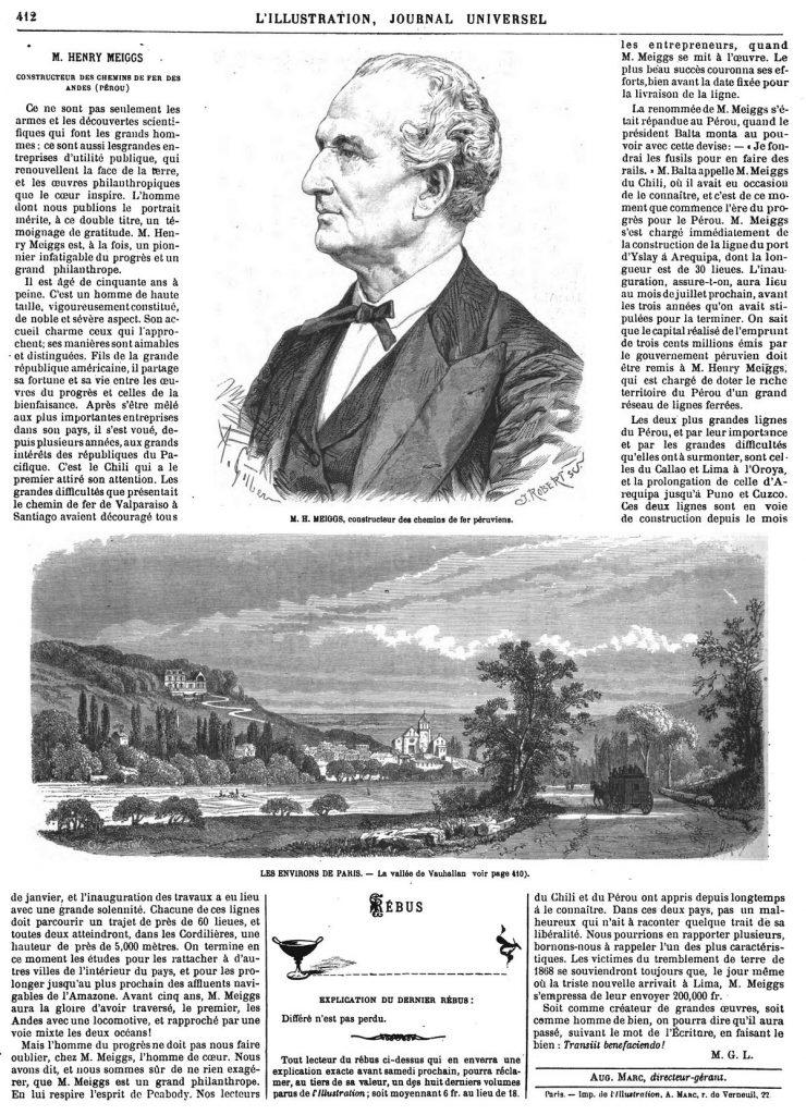 M. Henri Meiggs. Gravure 1870 — Environs de Paris: la vallée de Vauhalian. Gravure 1870