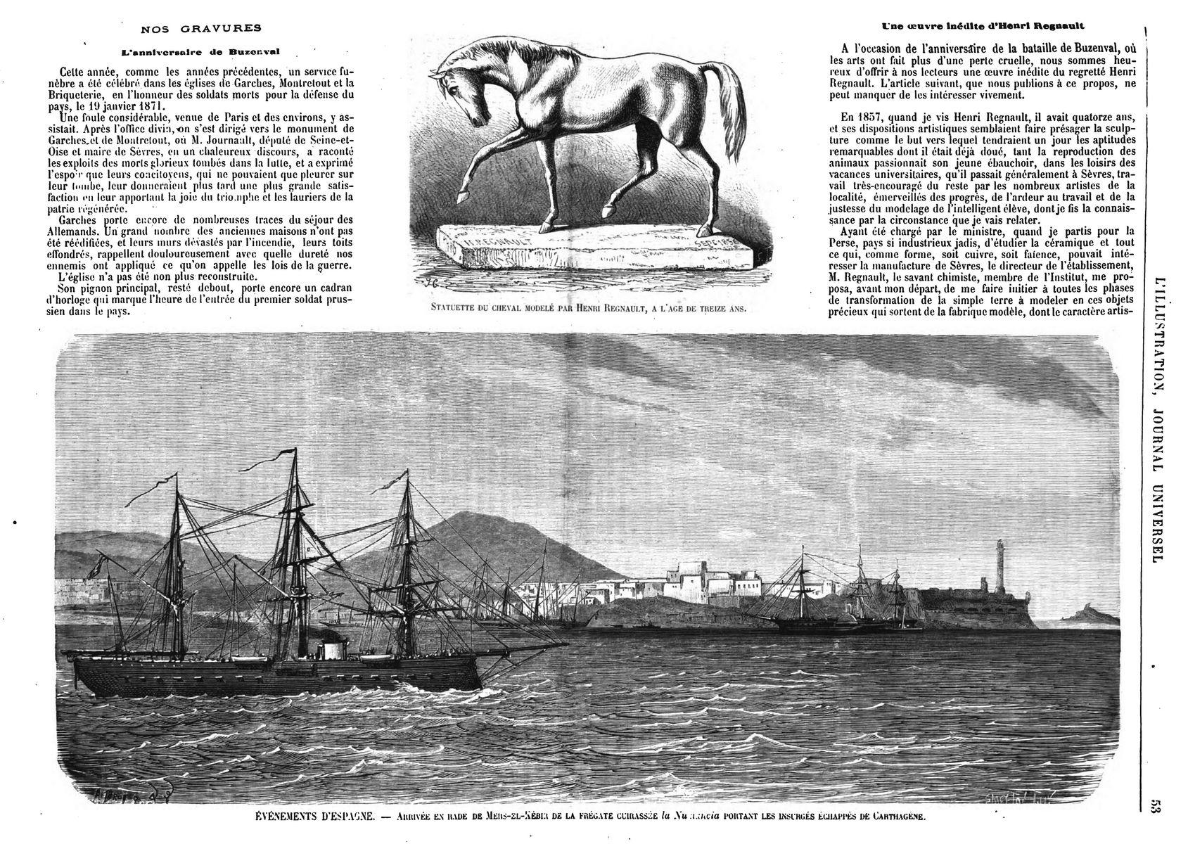 Statuette de cheval modelée par Henri Regnault à l'âge de treize ans. Événements d'Espagne: arrivée en rade de Mers-el-Kébir de la frégate cuirassée la Numancia portant les insurgés échappés de Carthagène.