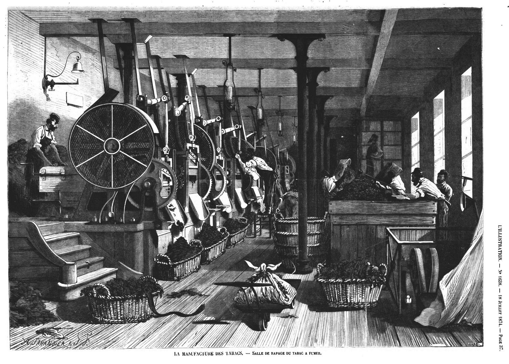 La Manufacture des tabacs : dépôt des masses ; Salle de rapage du tabac à fumer.