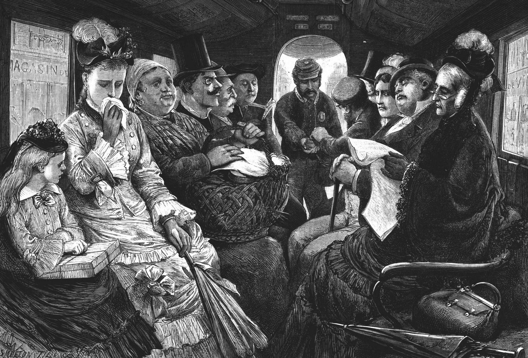 Types et physionomies de Paris : l'intérieur d'un omnibus 1874