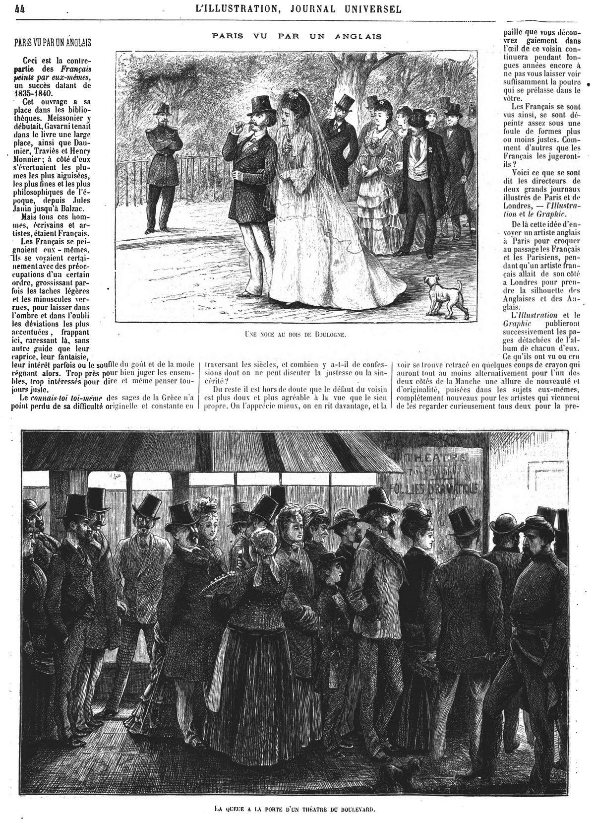 Paris vu par un Anglais : Une noce au bois de Boulogne;La queue à la porte d'un théâtre du boulevard ; Un café restaurant;Les soldats de l'avenir ; Les soldats du passé.