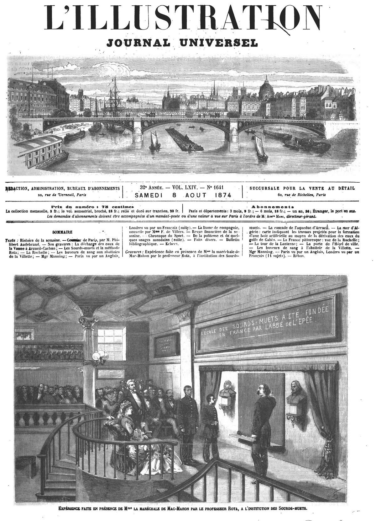 Expérience faite en présence de Mme la maréchale de Mac-Mahon par le professeur Rota, à l'institution des Sourds-muets 1874