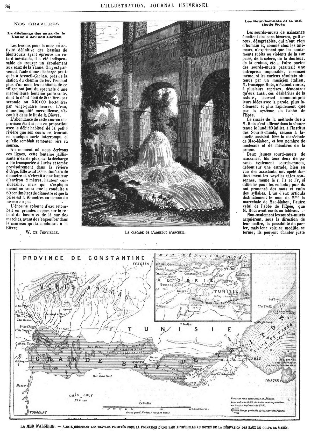 La cascade de l'aqueduc d'Arcueil. — La mer d'Algérie.: carte indiquant les travaux projetés pour la formation d'une haie artificielle au moyen de la dérivation des eaux du golfe de Cabès.