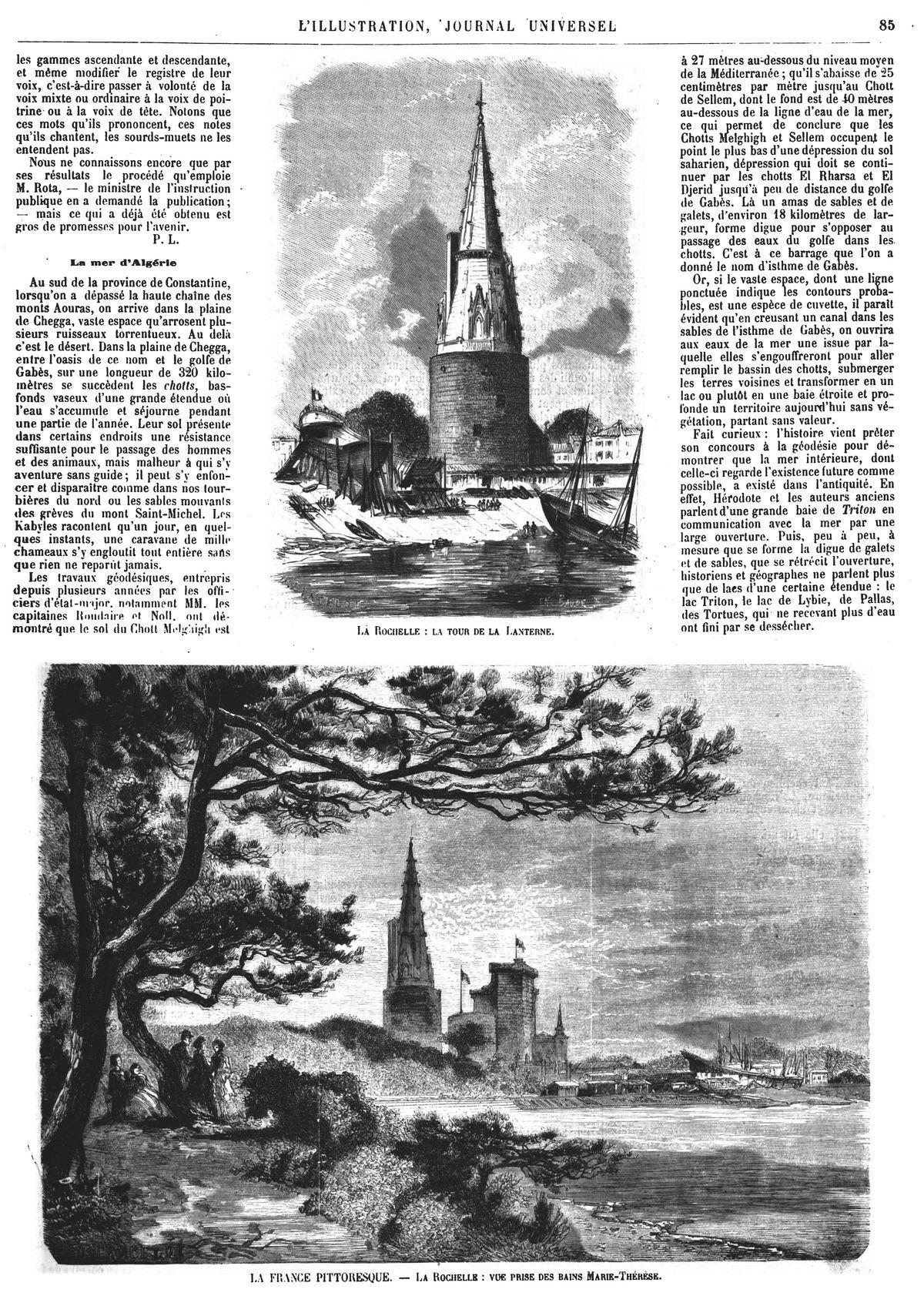 La France pittoresque : vue de la Rochelle. —La tour de la Lanterne ;1874