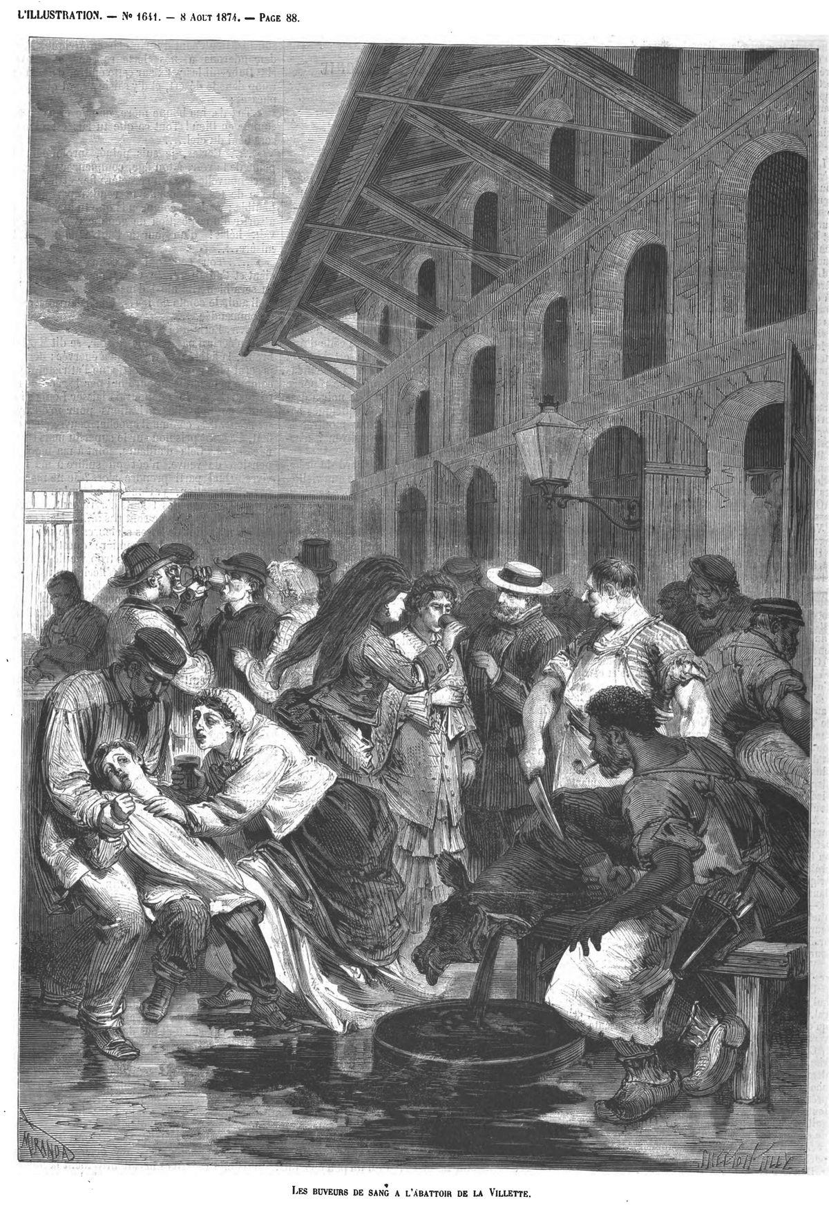Les buveurs de sang à l'abattoir de la Villette.