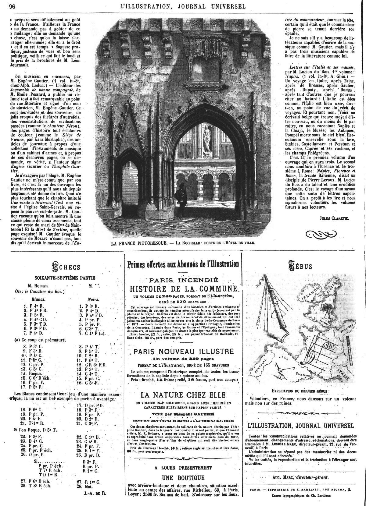 vue de la Rochelle - La porte de l'Hôtel de ville. 1874