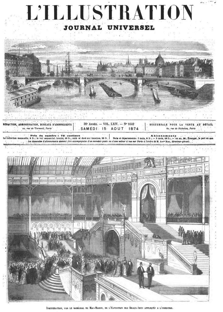 Inauguration, par le maréchal de Mac-Mahon, de l'Exposition des Beaux-Arts appliqués à l'industrie.(gravure 1874)