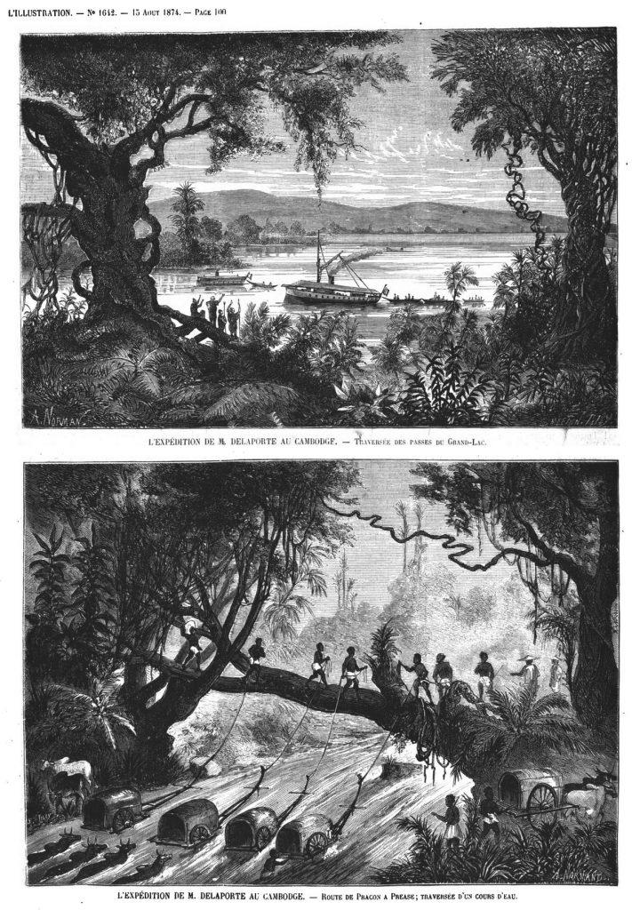 L'expédition de M. Delaporte au Cambodge : traversée des passes du Grand-Lac;(gravure 1874)
