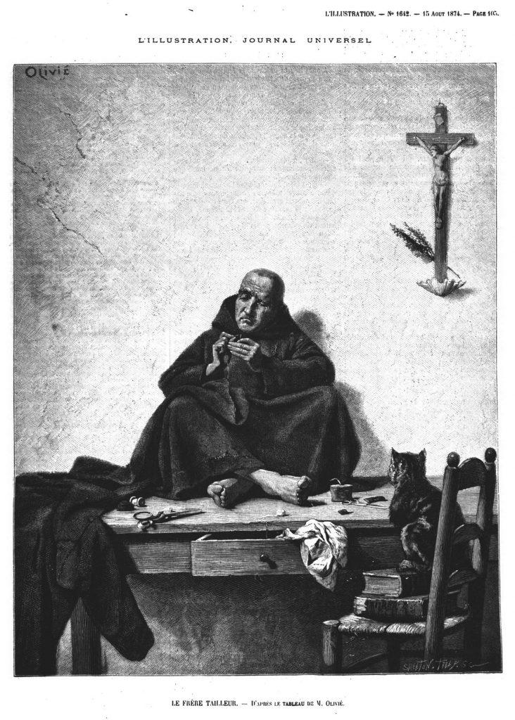 Le Frère Tailleur, d'après le tableau de M. Olivié.(gravure 1874)