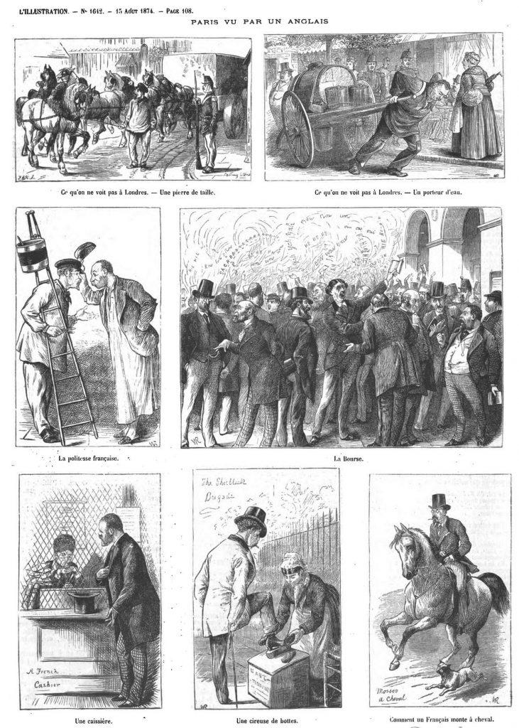 Paris vu par un Anglais, Londres vu par un Français (13 sujets).(gravure 1874)