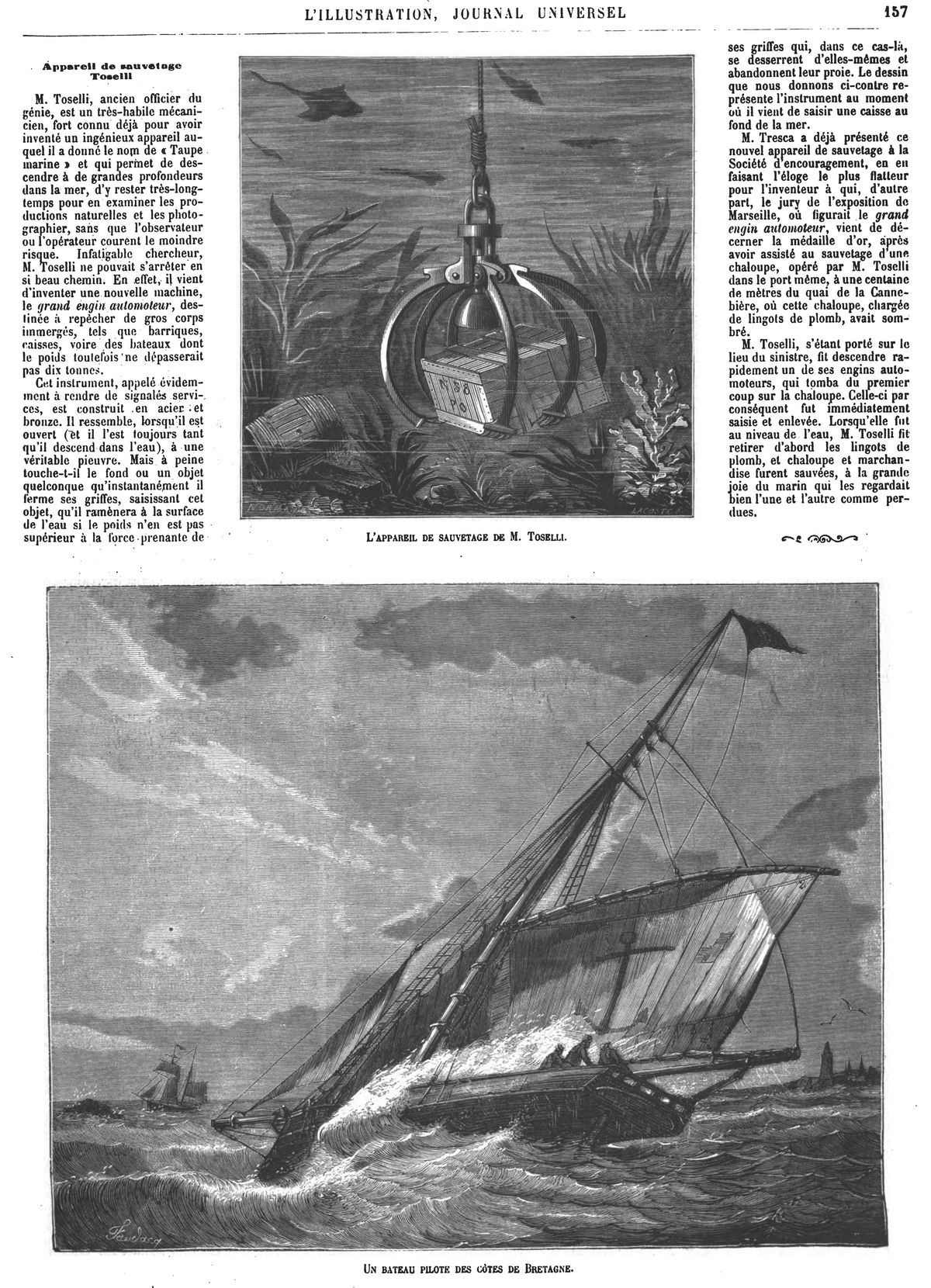 L'appareil de sauvetage de M. Toselli. Gravure 1874 — Un bateau pilóle des côtes de Bretagne. Gravure 1874