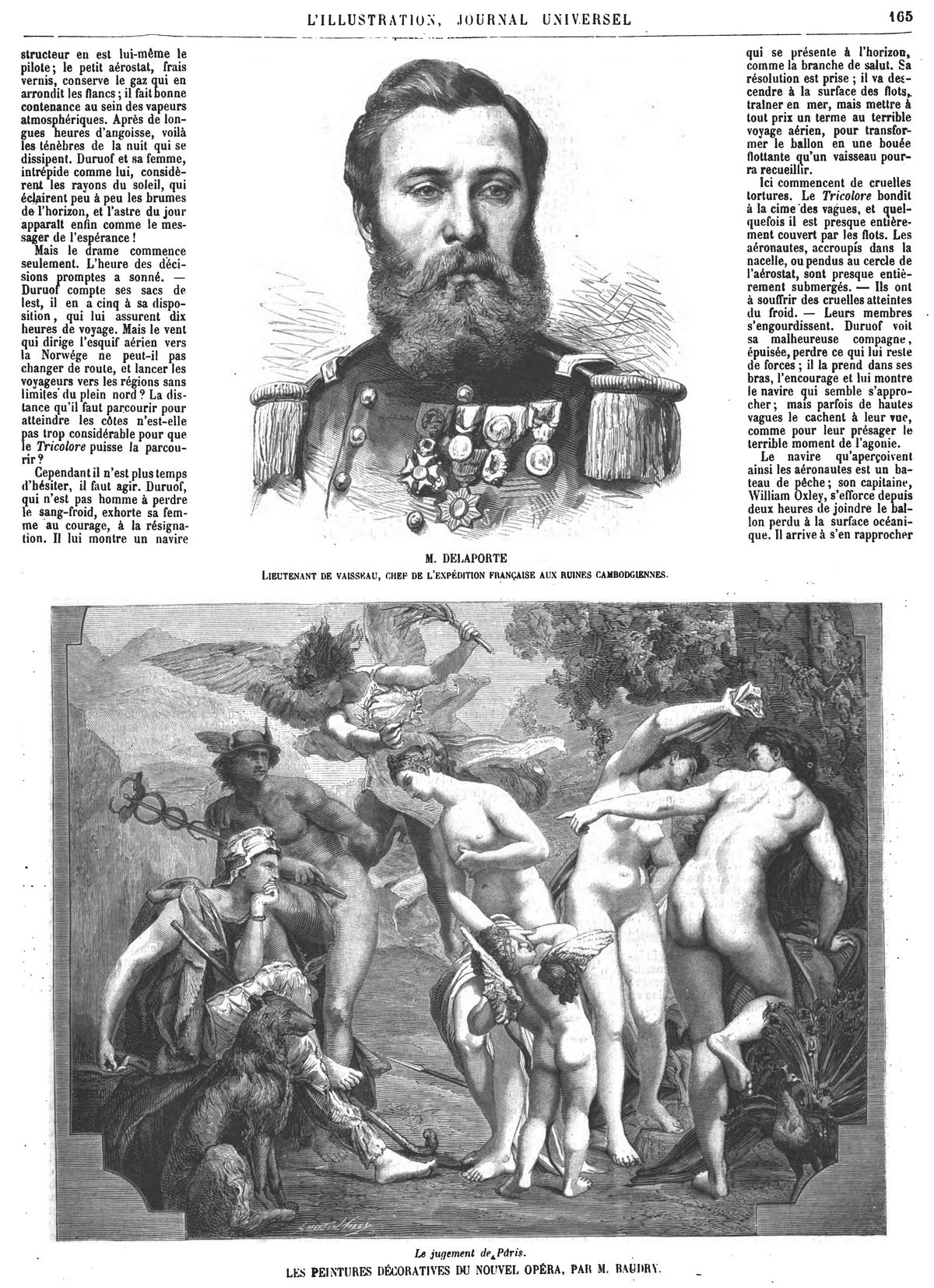M Delaporte, lieutenant de vaisseau, commandant l'expédition française aux ruines cambodgiennes. Gravures 1874