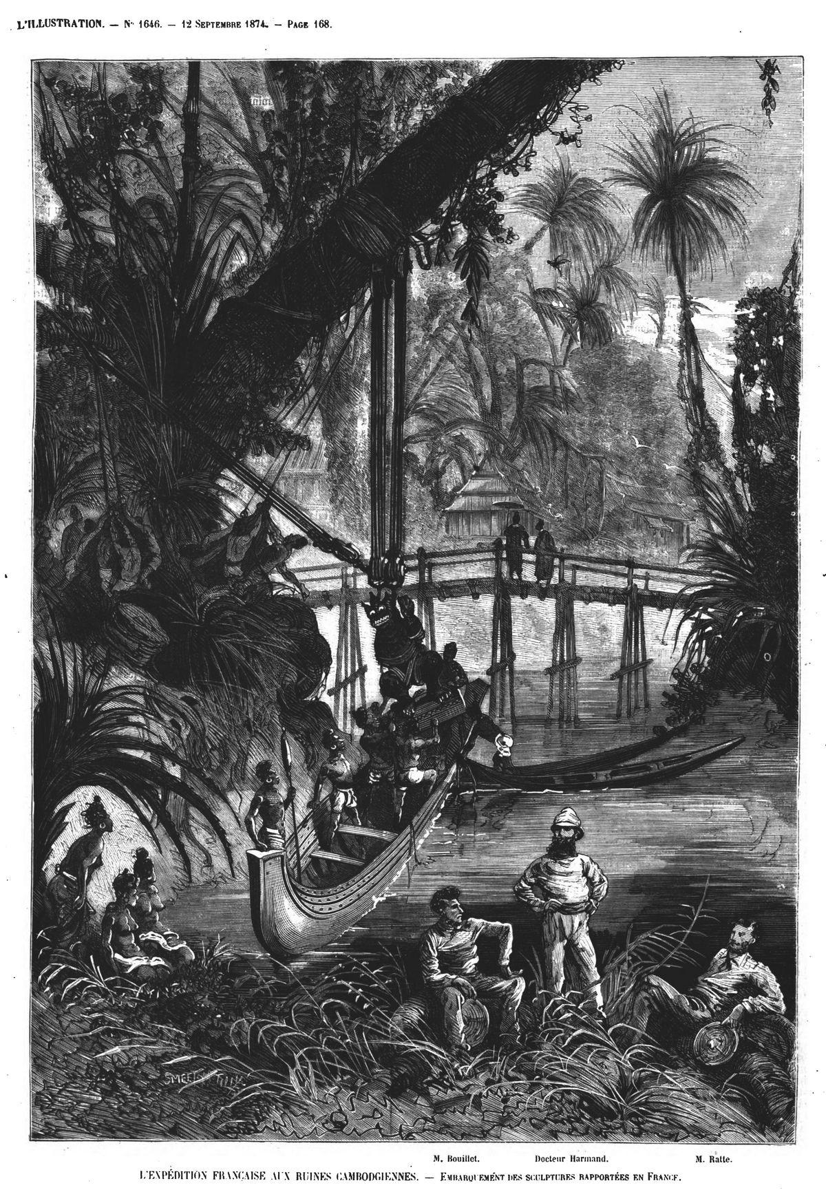 L'expédition française aux ruines cambodgiennes : embarquement des sculptures rapportées en France; Gravures 1874