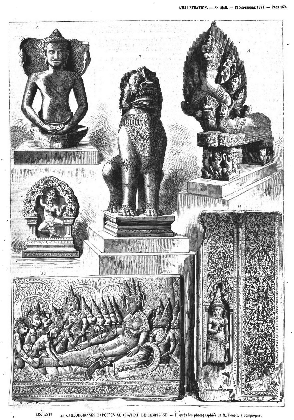 Les antiquités cambodgiennes exposées au château de Compiègne. Gravures 1874