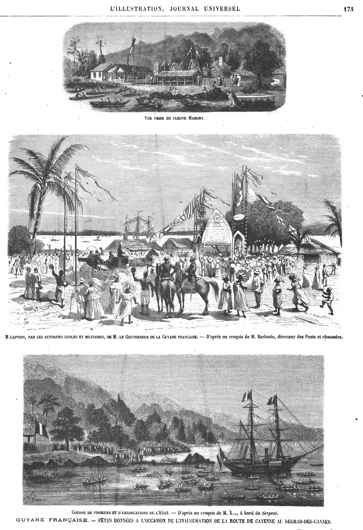 Guyane française : fêtes données à l'occasion de l'inauguration de la route de Cayenne au Dégrad-des-Cannes (3 gravures) Gravures 1874