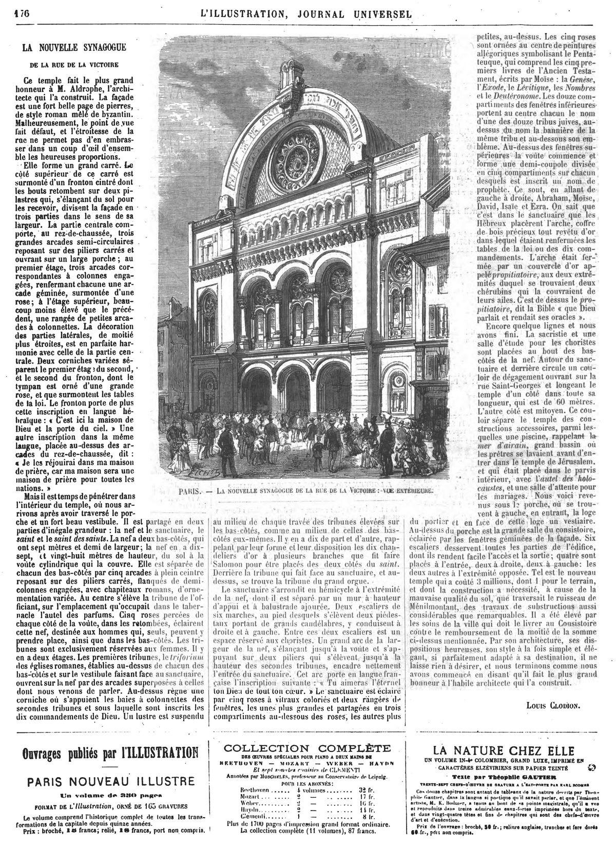 Paris : la nouvelle synagogue de la rue de la Victoire : vue extérieure. Gravures 1874