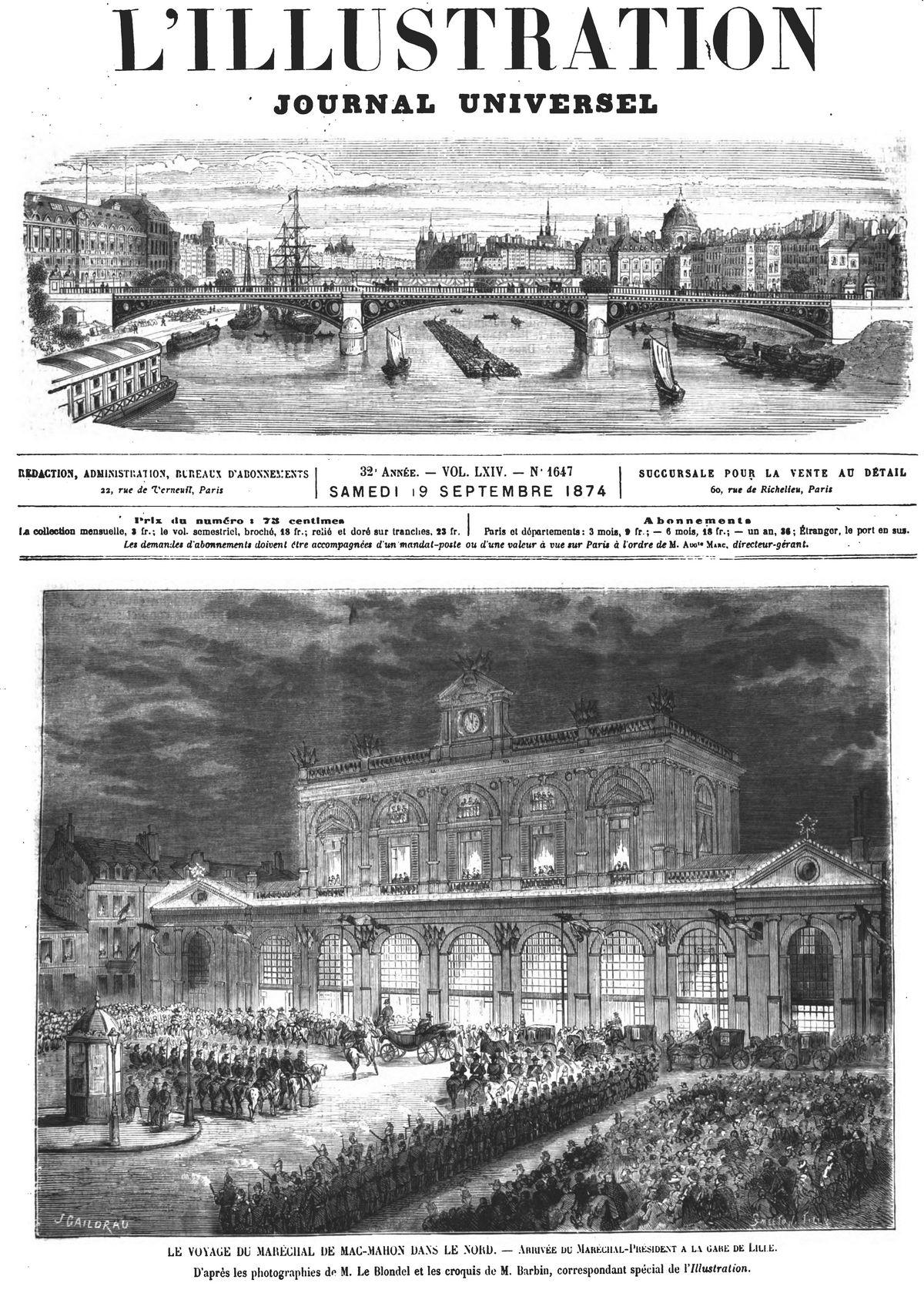 Le voyage du maréchal de Mac-Mahon dans le Nord : arrivée du maréchal-président à la gare de Lille.