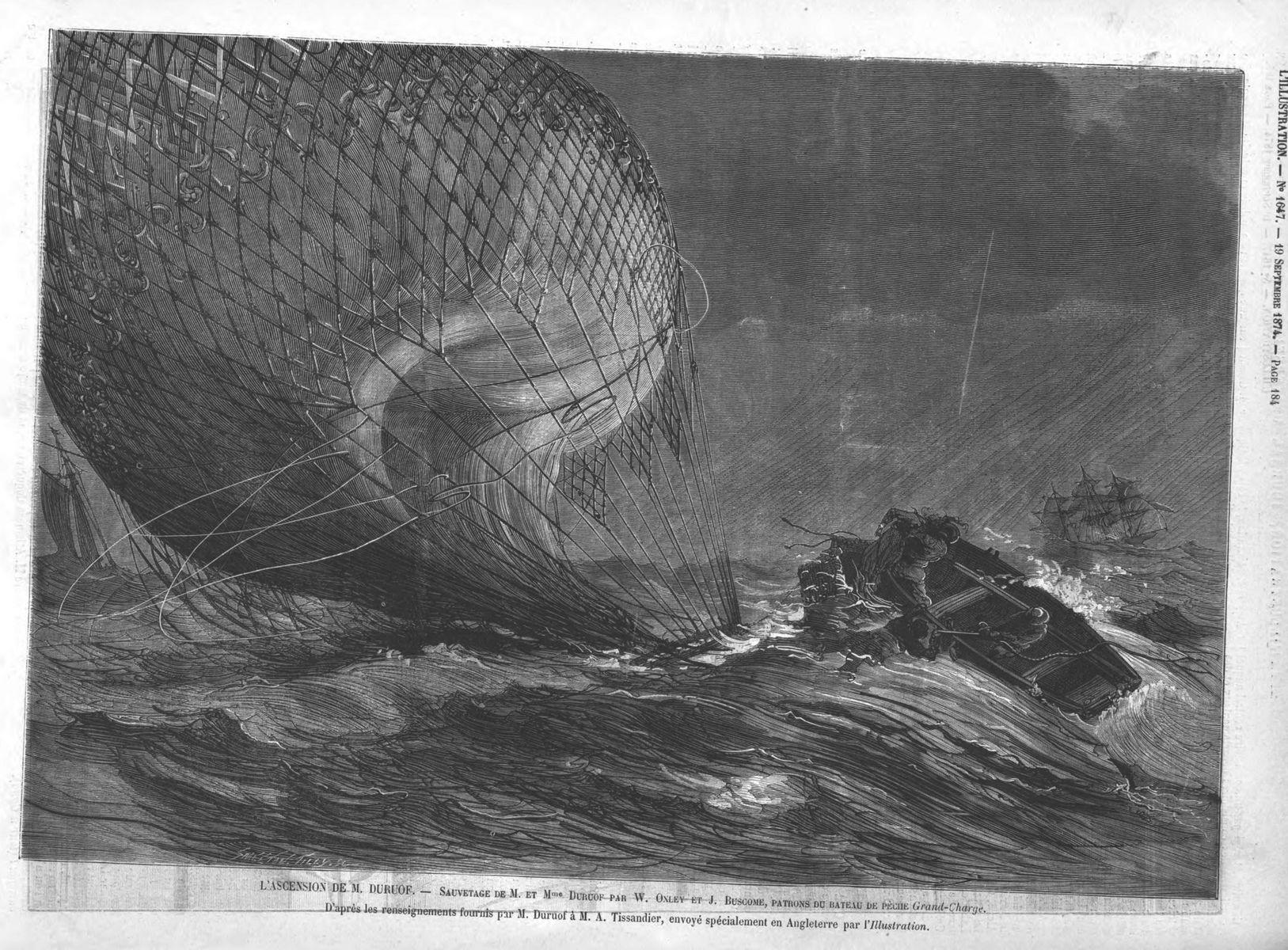 L'ascension de M. Duruof : sauvetage de M. et Mlle Duruof par W. Oxley et J. Buscome, patrons du bateau de pèche Grand-Charge. Gravure 1874