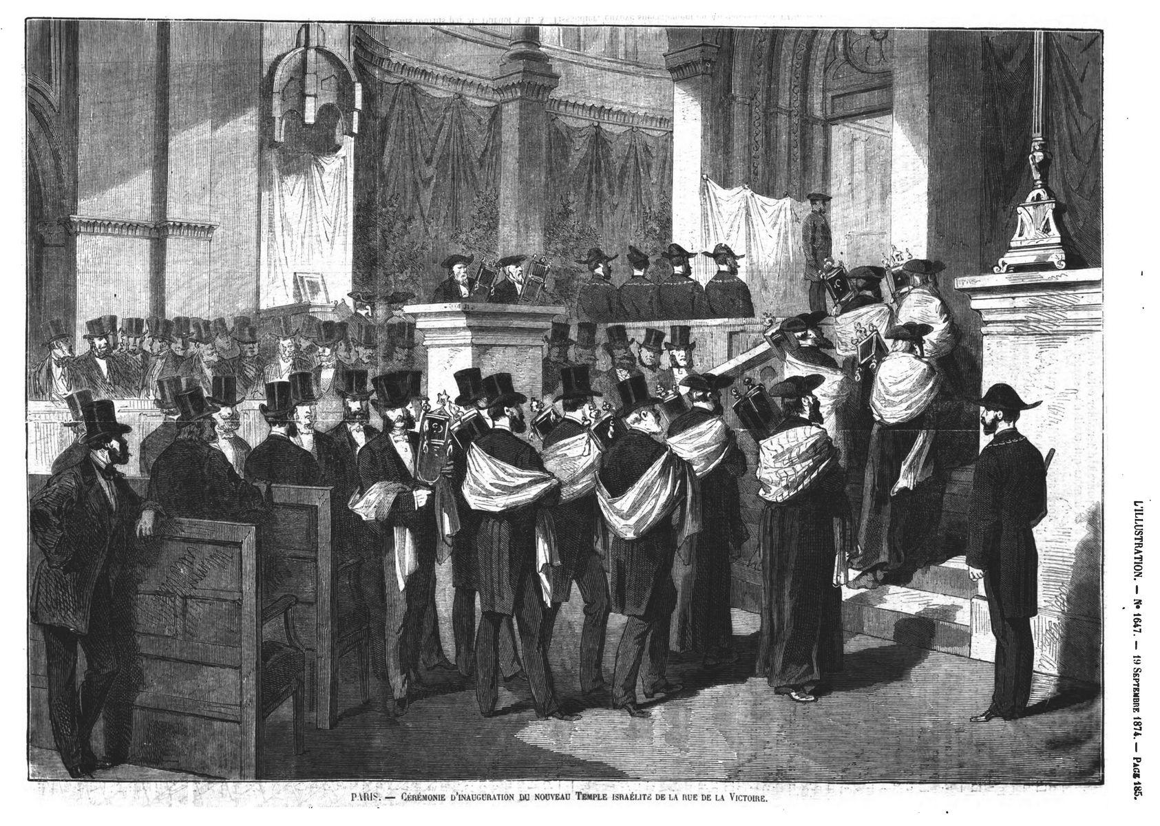 Cérémonie d'inauguration du nouveau Temple israélite de la rue de la Victoire. Gravure 1874
