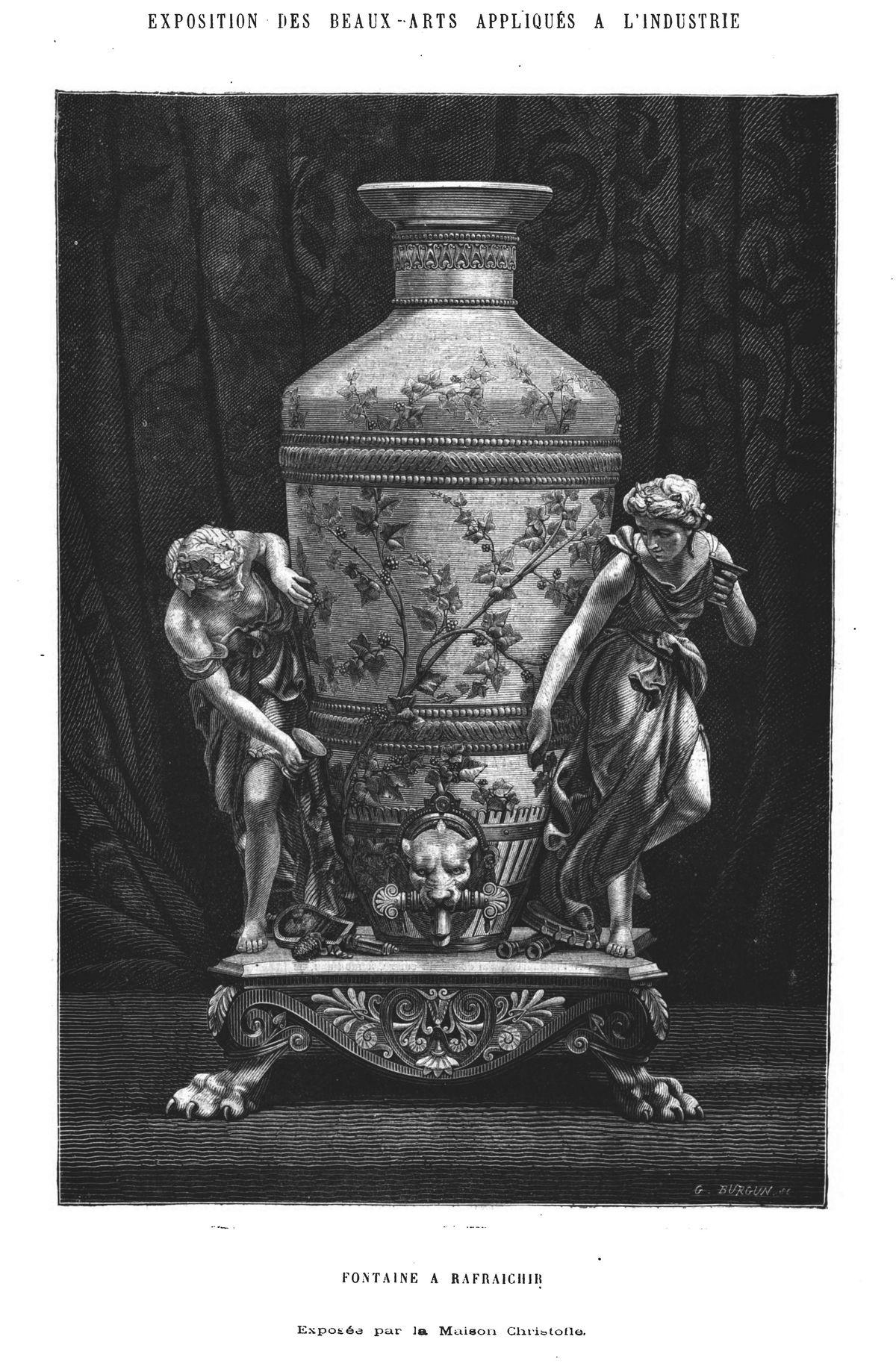 Fontaine à rafraîchir exposée par la maison Cliristoile. Gravure 1874