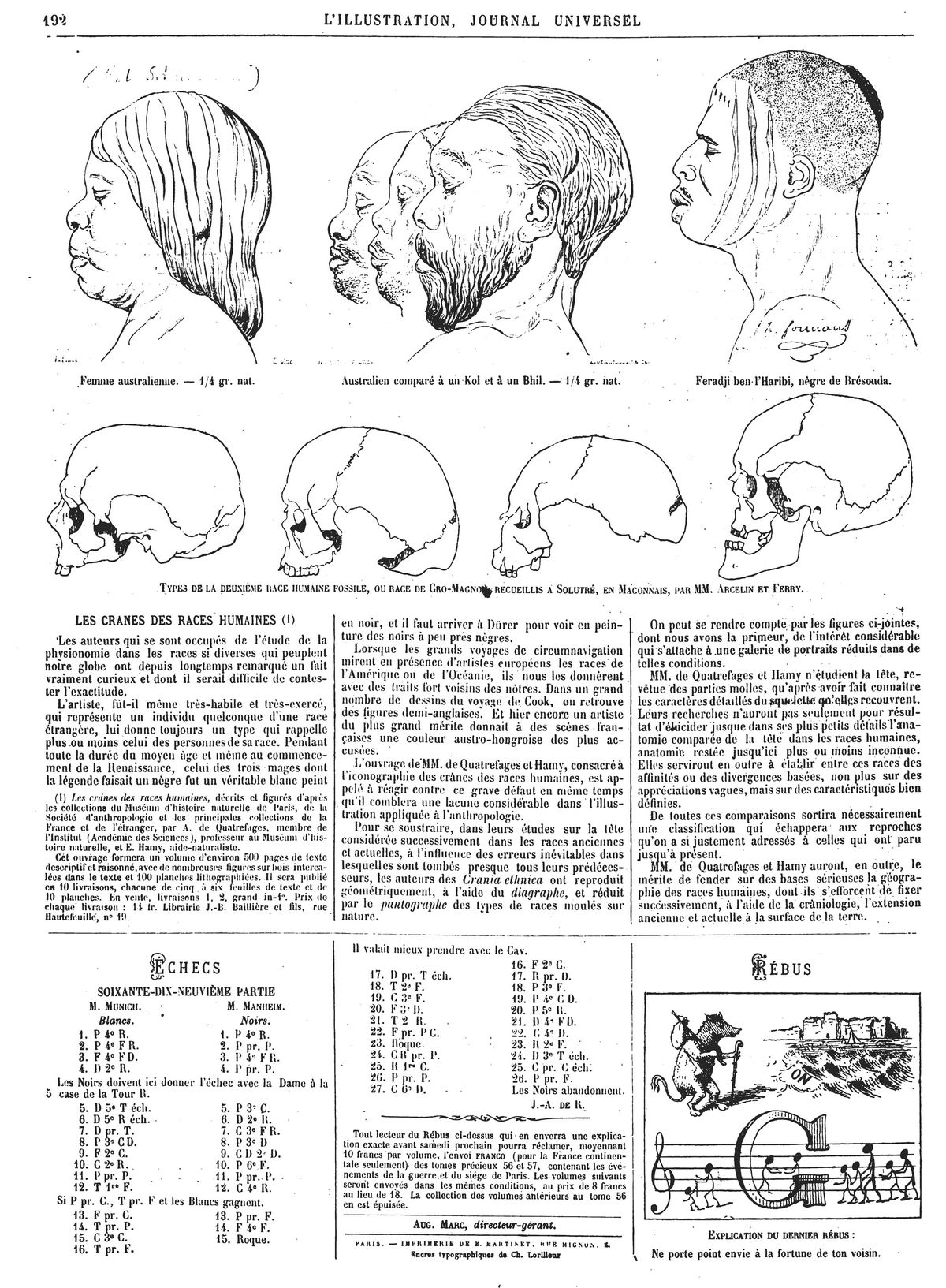 Les crânes des races humaines (7 gravures}. Gravure 1874