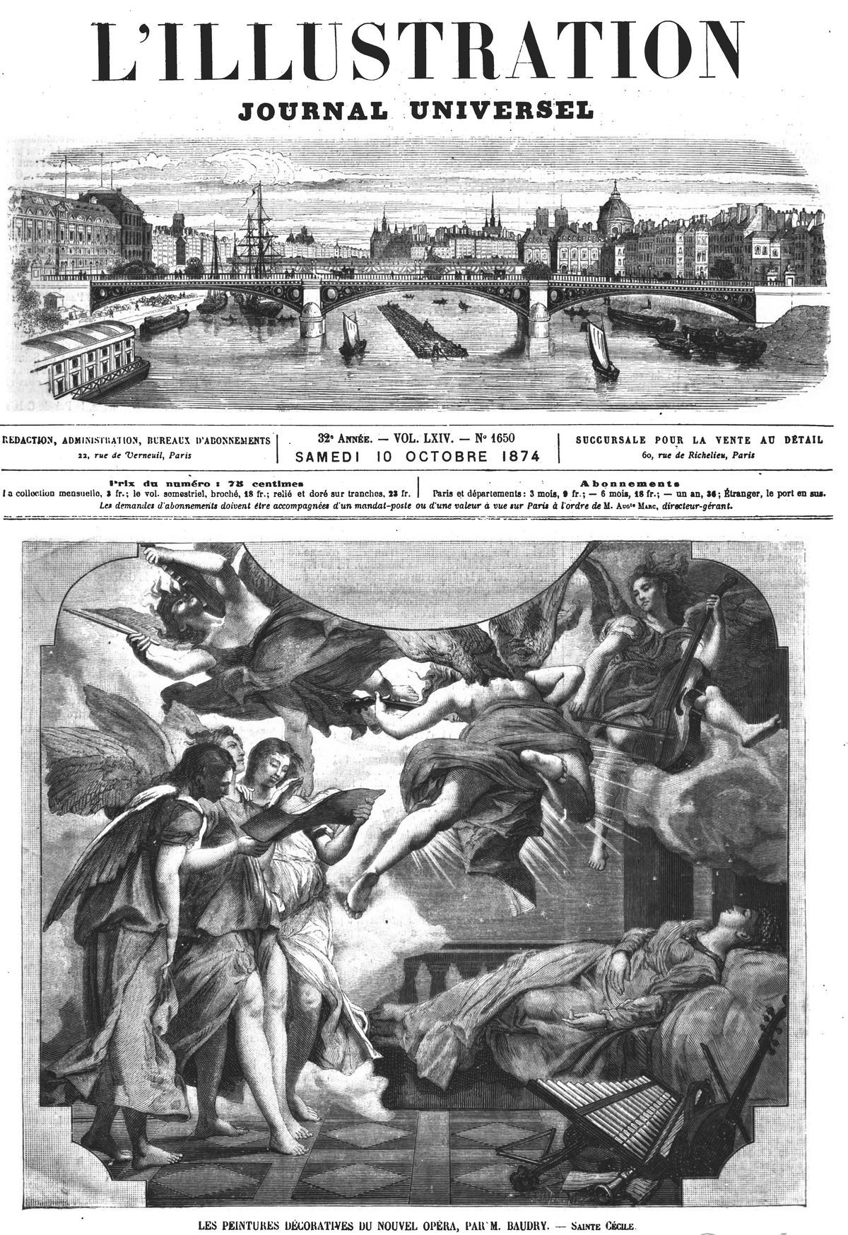 Les peintures décoratives du nouvel Opéra : sainte Cécile. Gravure 1874