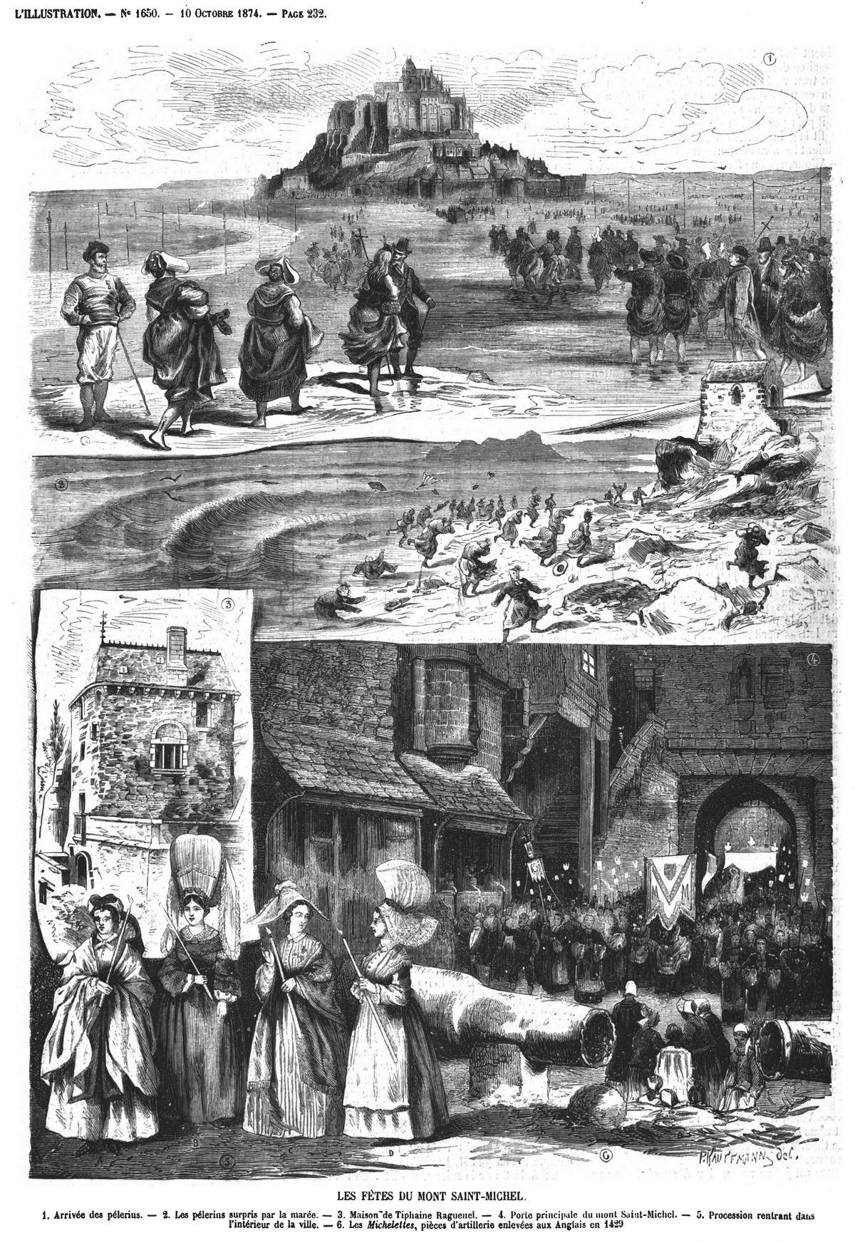 Les fêtes du mont Saint-Michel; Gravure 1874
