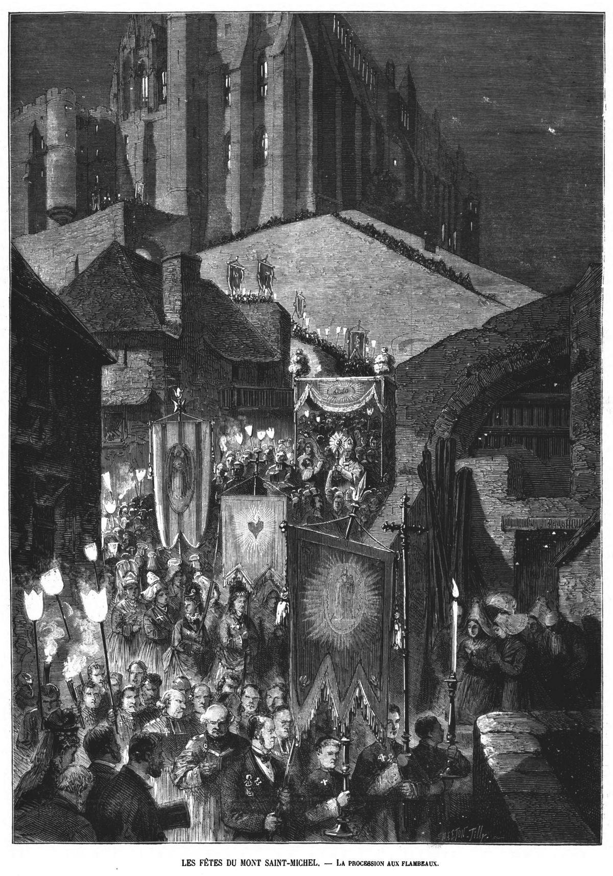 Les fêtes du mont Saint-Michel; Gravure 1874 — La procession aux flambeaux. Gravure 1874