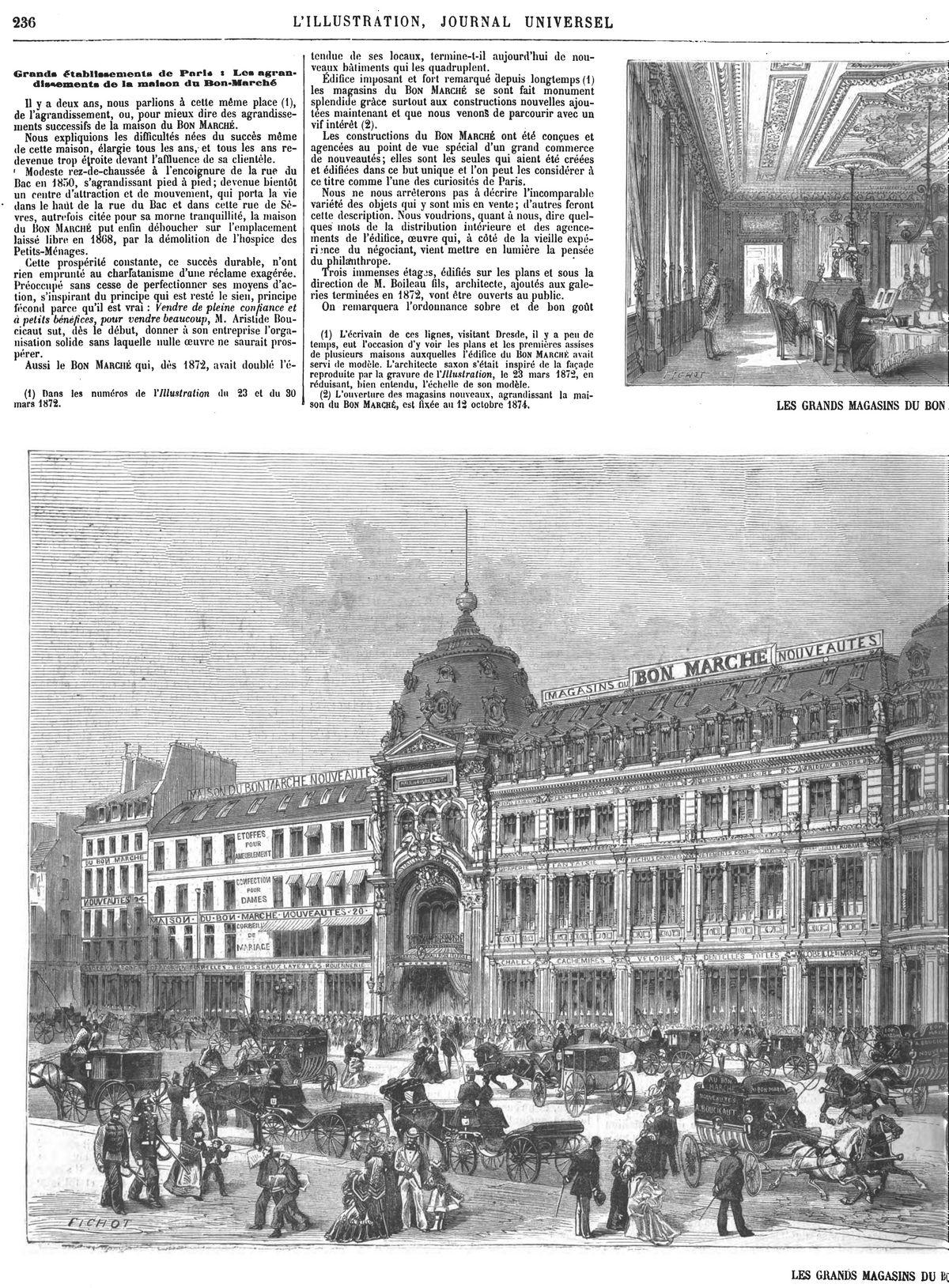 Grands magasins du Bon Marché : Salon de lecture; Gravure 1874 — Vue générale; Gravure 1874