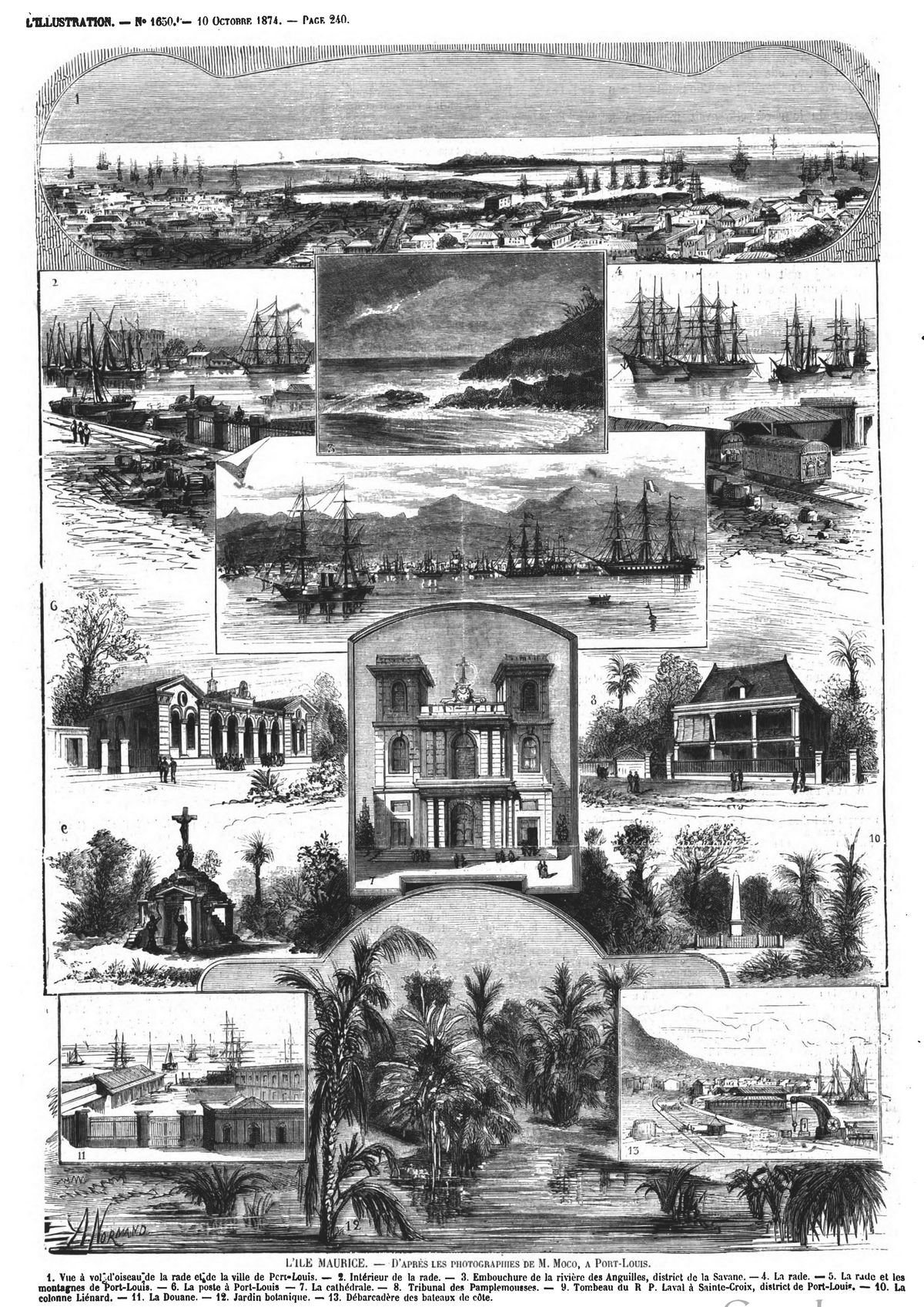 L'ile Maurice. Gravure 1874