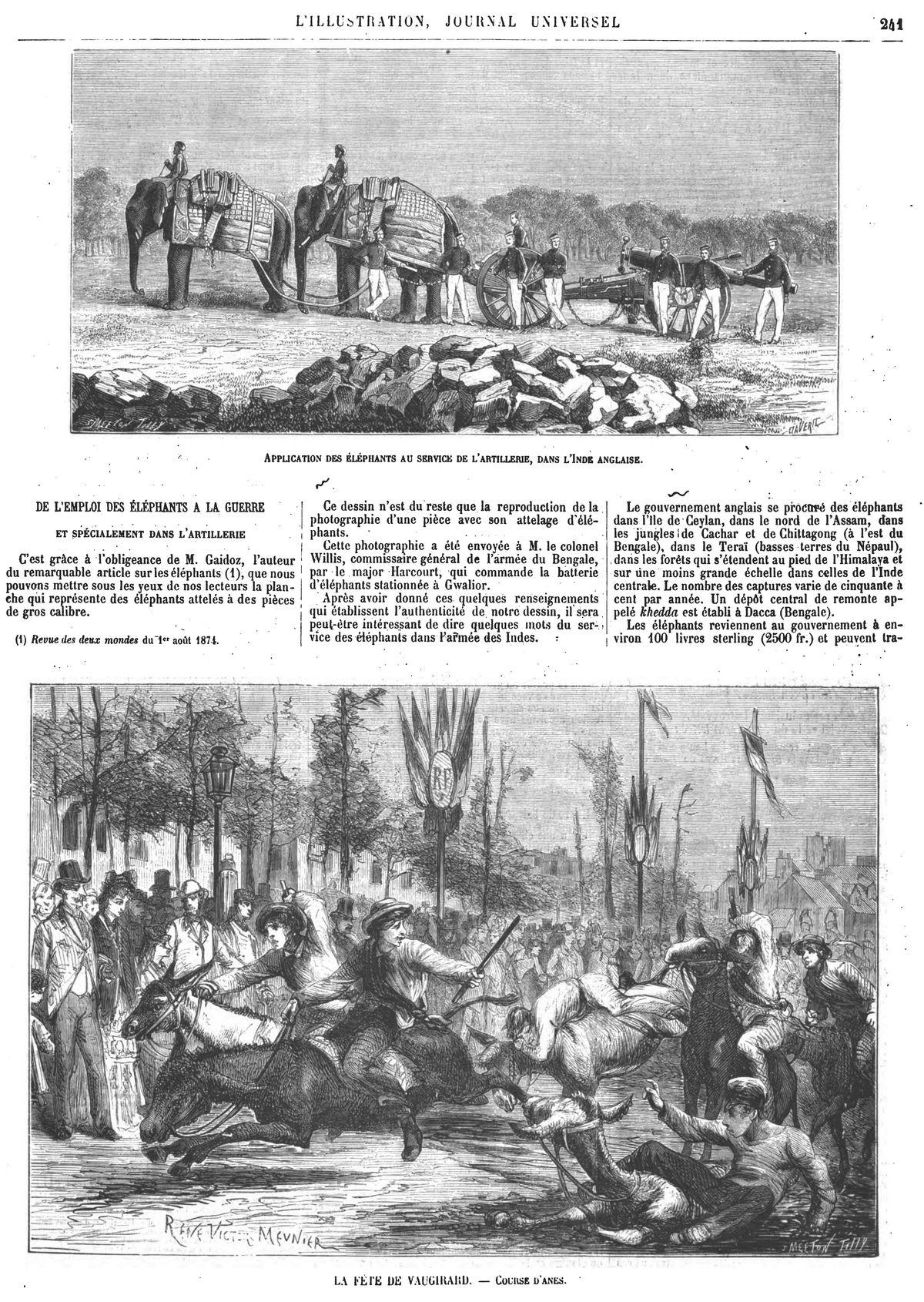 La fête de Vaugirard : course d'ânes. Gravure 1874