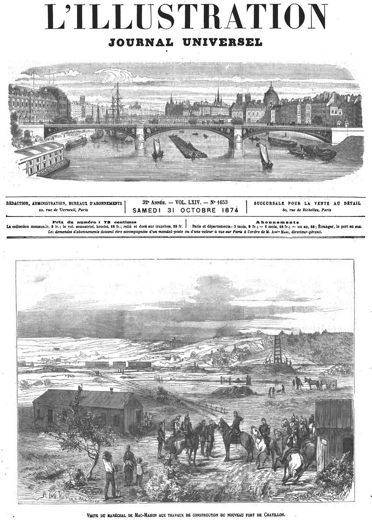 Visite du maréchal de Mac-Mahon aux travaux de construction du fort de Châtillon. Gravure 1874