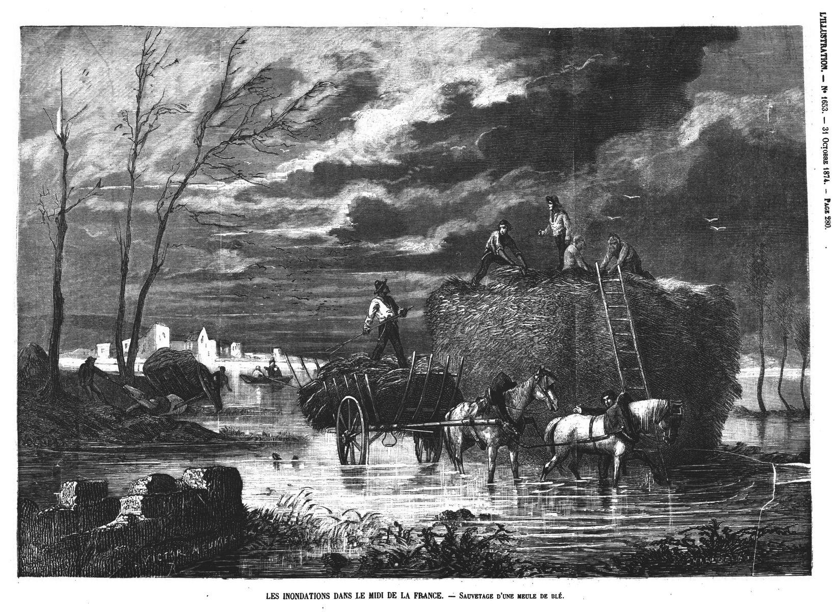 Les inondations dans le midi de la France : sauvetage d'une meule de blé. Gravure 1874
